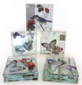 Set of 4 Glass Coasters Boxed Purple Butterfly & Rose