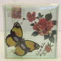 Glass Coaster Set of 4 Butterfly yellow & Rose