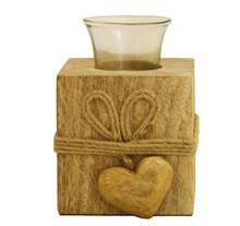Mango Wood tealight holder small Heart