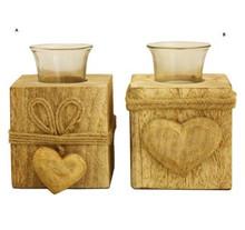 Mango Wood tealight holder set x 2 small & Large Heart