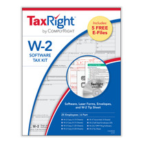 TaxRight W-2 Software Kit for 25 Employees. Kit includes filing software with FREE efile, and 25 forms and envelopes. (Item # C5650ES25) 2021