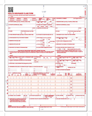 New CMS-1500 (02/12) Claim Form, Laser Cut, 50 sheets.  (Item # CMSNEW50)