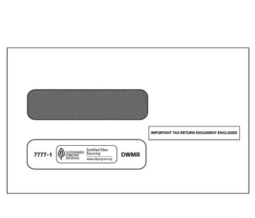 Double Window Envelope for 2-Up 1099s (Misc, R, Div, 5498) 1000/box Self-Seal.  (Item # 7777-2K)