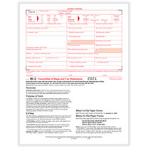 W-3 Transmittal (item# 5200). Transmittal of Income and Tax Statement (for W-2's).  2021