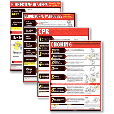 ComplyRight Lifesaving Poster Set .  Includes (4) Posters for CPR, Choking, Fire Extinguisher, and Bloodborne Pathogens safety techniques. (item # WR0242)