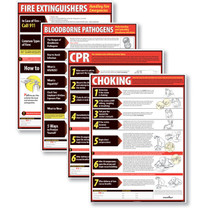 Lifesaving Poster Set (CPR, Choking, Fire Extinguishers, & Blood-borne Pathogens).  (item # WR0242)