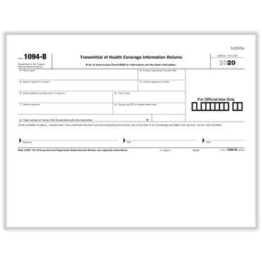 ACA Form 1094-BT, 25/package is a summary transmittal record for form 1095-B.  Item # 1094-BT