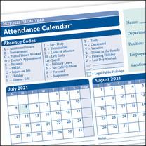 Fiscal Year Attendance Calendar, 2021-2022,  50/PKG.  Item # A42005015