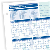 Academic Year Attendance Calendar 2021-2022, 50 per package.  Item # A43005015