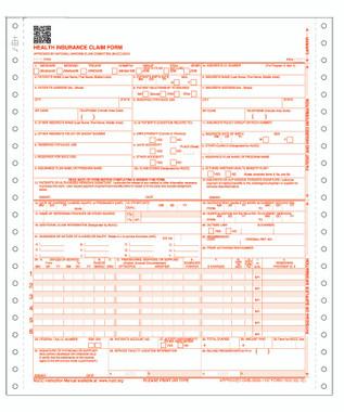 New CMS-1500 (02/12) Claim Form, 2 Part Continuous. (Item # CMS122)