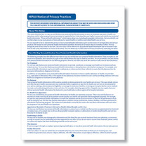 HIPAA Notice of Privacy Practices. (Item # A1349)