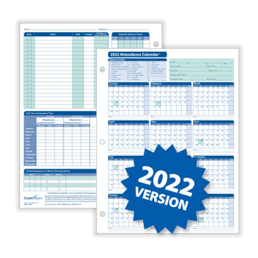 2022 Attendance Calendar (item # A4000W50), white, pack of 50