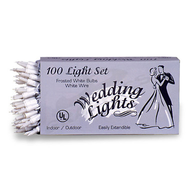 100 BULB WEDDING LIGHT SET WITH WHITE WIRE & FROSTED WHITE BULBS - 102ML100