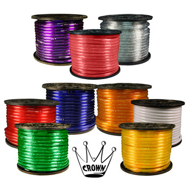 """3/8"""" 2 Wire Incandescent Crown Rope Light  Roll Color Options"""