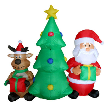 5ft Christmas Tree, Santa And Reindeer Inflatable Yard Decoration   100CI706