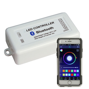 Bluetooth RGB Controller shown with Smartphone app (Phone not included)