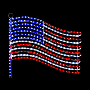 Patriotic String Lights Outdoor : LED USA FLAG ROPE LIGHT MOTIF SILHOUETTE WINDOW DISPLAY - 103MOLFLAG - Action Lighting , Inc.