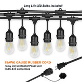"47ft Commercial Patio / Bistro Light Set 36"" bulb Spacing"