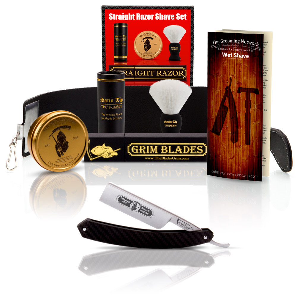 The Blades Grim Carbon Fiber Straight Razor Set