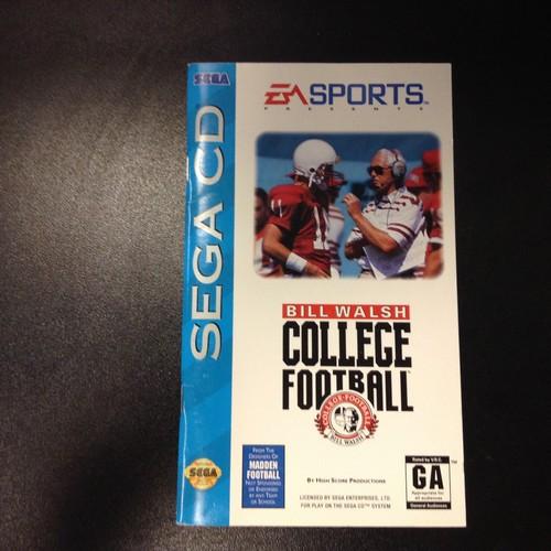 Bill Walsh College Football Instruction Booklet Sega Cd