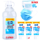 Wish Care Package - 50 Disposable Face Masks, 3 100ml + 1 2L Health Canada Approved Hand Sanitizer