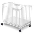 Chelsea Slatted Steel Crib w/Oversized Casters