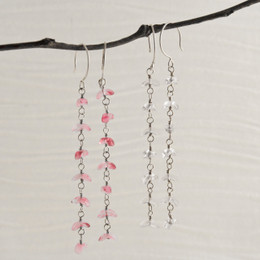 CLEARANCE! Glass Cascade Earrings--50% OFF--Only Dark Pink Left!