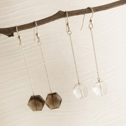 CLEARANCE! Clear or Smokey Quartz Hexagon Single Drop Earrings--50% OFF