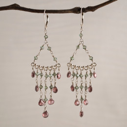 CLEARANCE! Rose CZ with Moss Swarovski Chandelier Earrings--50% OFF