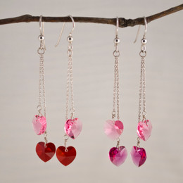 CLEARANCE! Swarovski Hearts Double Drop Earrings--50% OFF