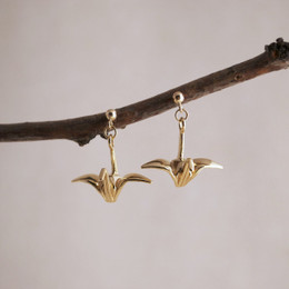 Gold Vermeil Tsuru Post Earrings