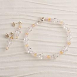 Swarovski Crystal, Amethyst, and Citrine Bracelet and Earring Set