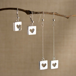 Hearts for Squares Droplet or Long Drop Earrings