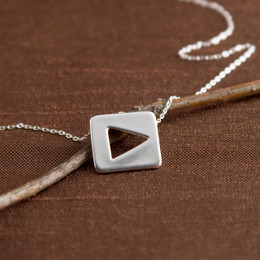 "TV Remote ""Play"" Icon Necklace"