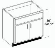 """Oak Shaker Vanity Base Cabinet 33""""W x 34-1/2""""H"""