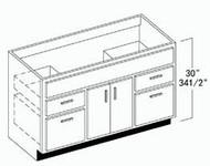 """Oak Shaker Vanity Base Cabinet 48""""W x 34-1/2""""H"""