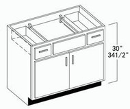 """Oak Shaker Vanity Base Cabinet 36""""W x 34-1/2""""H with Side Drawers"""