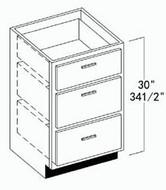 "Oak Shaker Vanity Drawer Base Cabinet 18""W x 34-1/2""H"