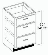 "Oak Shaker Vanity Drawer Base Cabinet 21""W x 34-1/2""H"