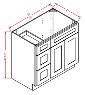 """Vanity Base: 36""""Wx21""""Dx34-1/2""""H 2 doors, 3 Drawers on Right"""