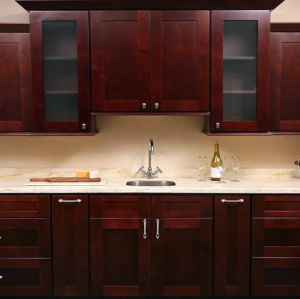 Mocha Shaker Assembled Kitchen Cabinet Set