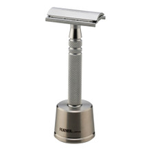 Feather AS-D2S All Stainless Double Edge Shaving Razor with Stand