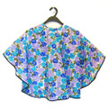 MH 5731 floral cosmetic cape 80x90cm, blue