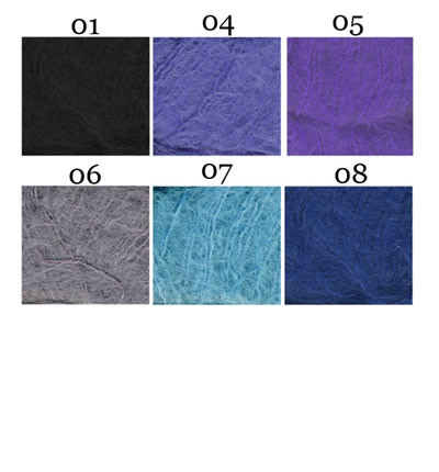 Black (01), Denim Blue(04), Grey(06), Purple(05), Turquoise(07), Light Navy(08)