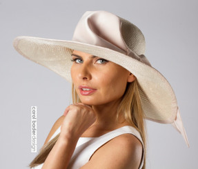"Ivory/Blush shown here. 6"" brim"