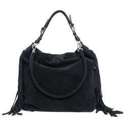 Black Fringe Faux Suede Bag