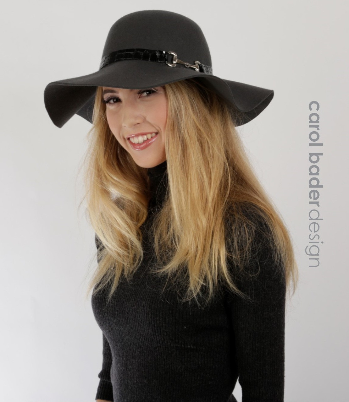Floppy Felt hat with bit. Price   140.00. Charcoal with black trim and bit. 82f9b5b193a3