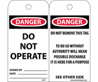 LOCKOUT TAGS: DANGER Do Not Operate 25/Pk