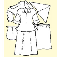 Shift, Shortgown, Petticoat, Apron, Handkerchief and Pocket