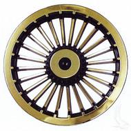 "Wheel Cover, 8"" Turbine Black/Gold standard 8"" wheels"